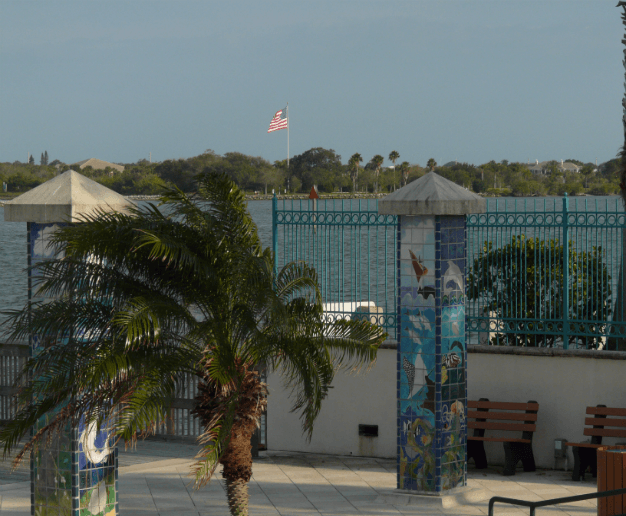 View of the American flag from royal palm pointe