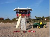 City of Vero Beach Lifeguards Standing on a Lookout Tower