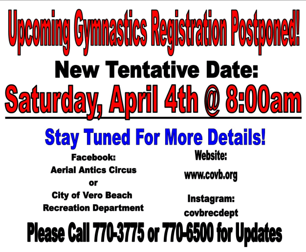 Corona Virus gym registration postponed