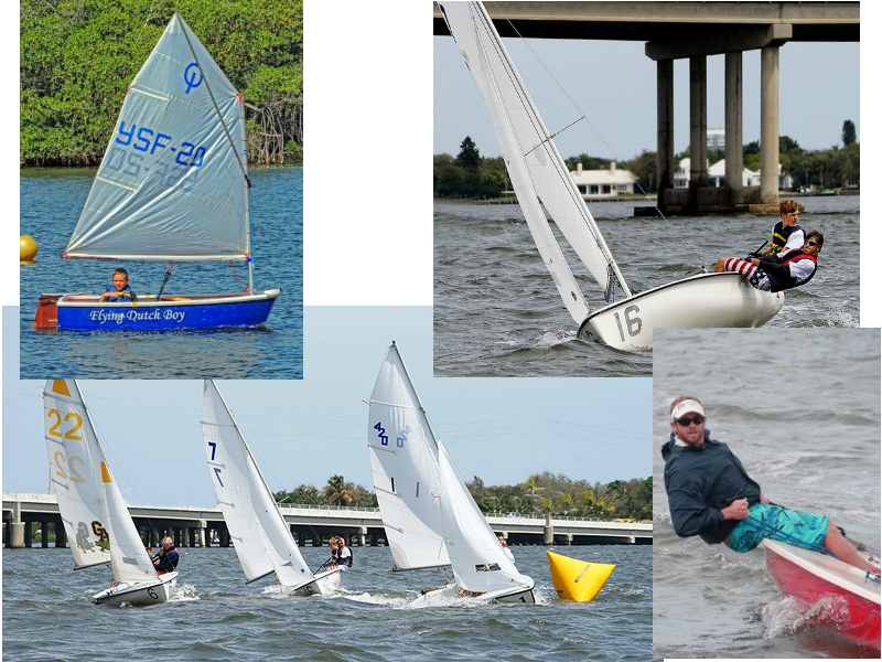 A collection of four pictures with people on sailboats